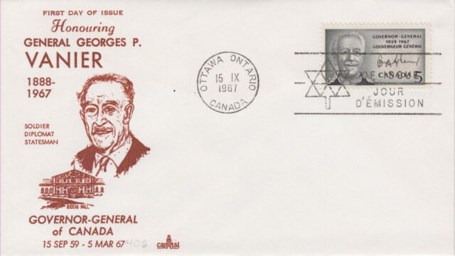 CANADA #474 5¢ GOV GENERAL GEORGES VANIER ON CAPITAL CACHET FIRST DAY COVER