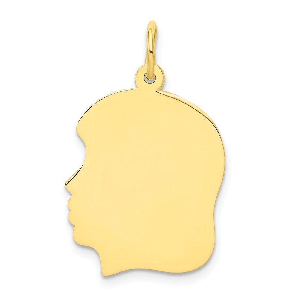 Genuine 10k Yellow gold Left Engravable Girl Head Charm .013 Gauge 0.95 gr