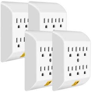 ANKO-Multi-Plug-Outlet-4-PACK-Wall-Mount-power-strip-with-6-Outlet-Tap