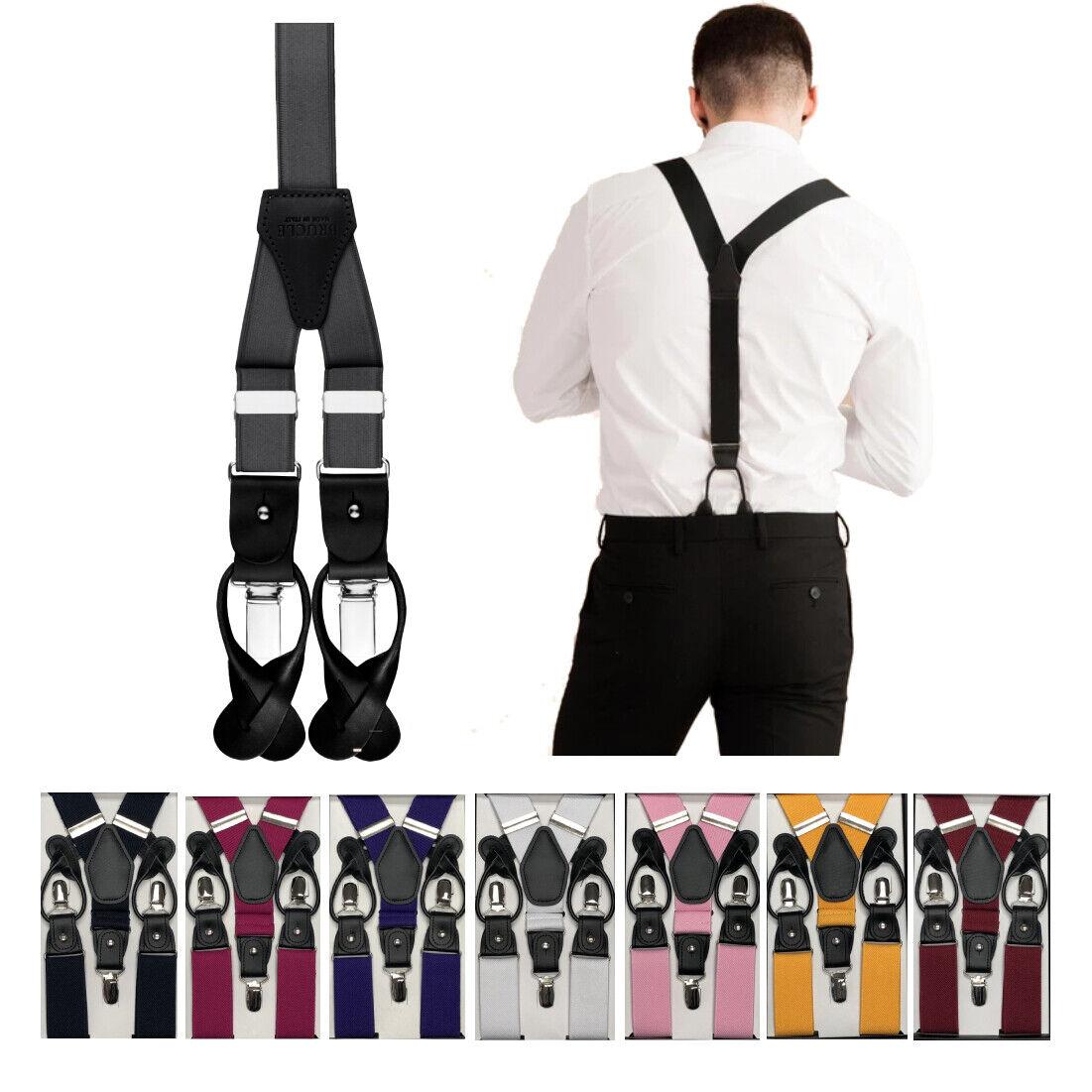 Berlioni Men's Adjustable Solid Color Y Shape Metal Clasp Suspenders One Size