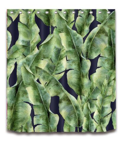 Tropical Banana Palm Leaves Flamingo Shower Curtain /& 12 Hooks Waterproof Fabric
