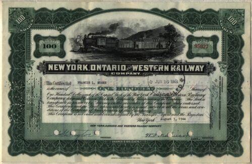 New York Ontario /& Western Railway Company Stock Certificate Railroad Green
