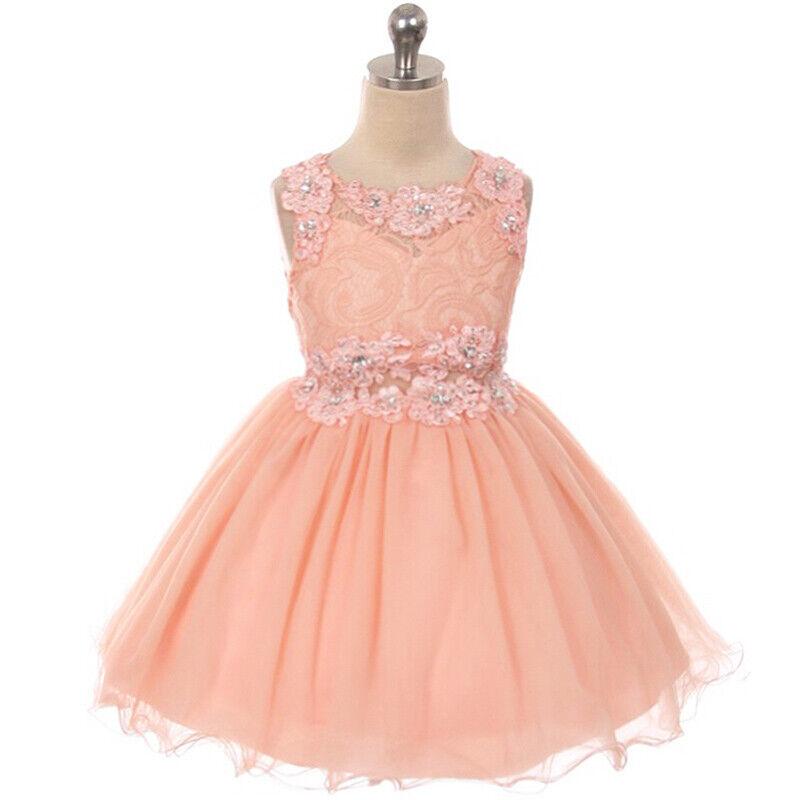 PEACH Size 18 Rhinestone Illusion Waist Mini Skirt Bridesmaid Flower Girl Dress