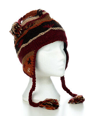 Hand Knitted Winter Woollen Crazy Stitched Earflap Beanie Hat UNISEX CSEH13