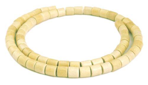 Ambaba-Weißholz Perlen Strang Walzen 6x6 mm naturweiße Holzperlen H.AM-5
