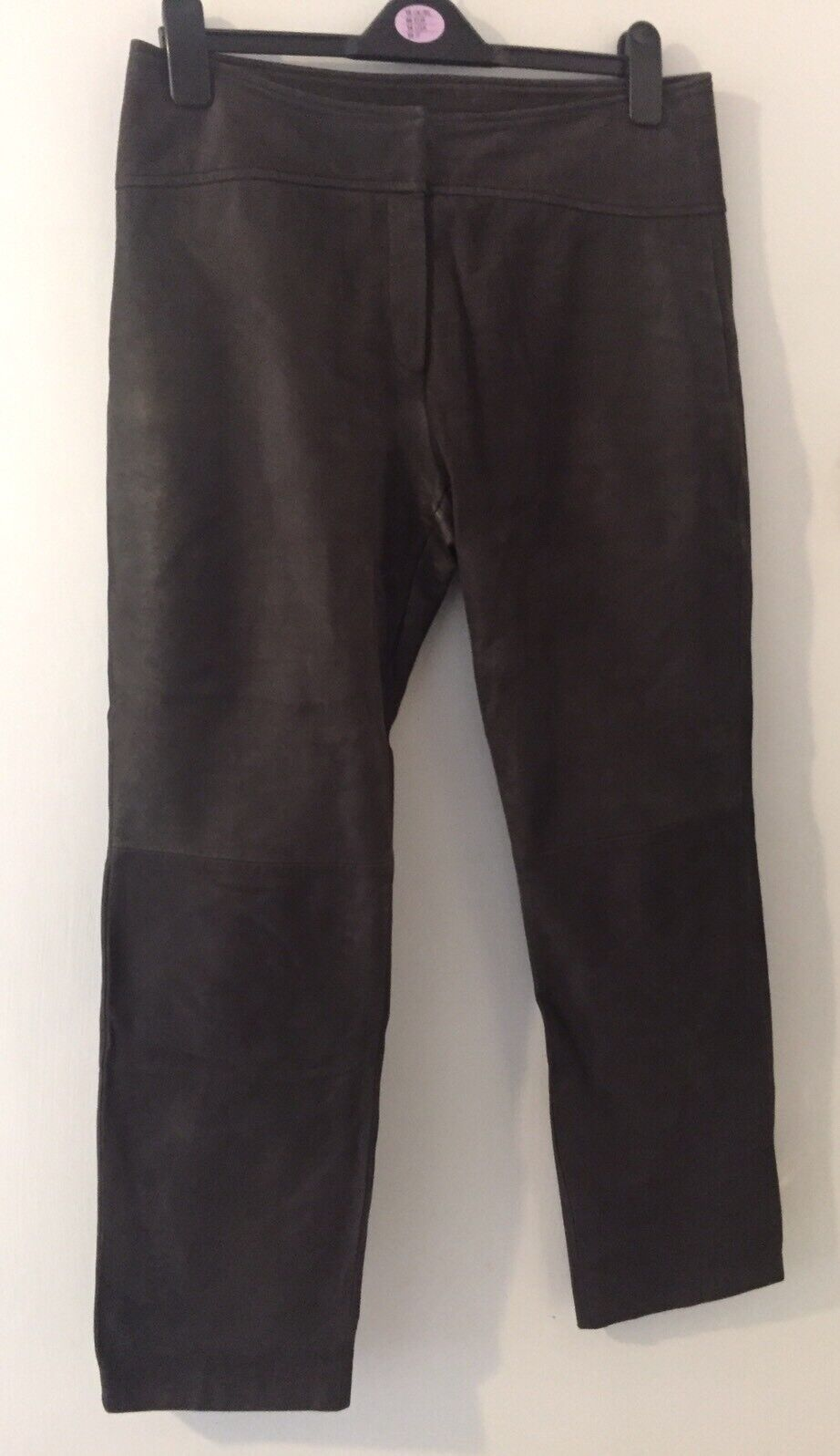 Betty Barclay Brown 100% Leather With Slight Glitter Look Trousers Size 14