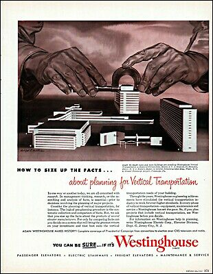 Hearty 1952 Biscayne Terrace Westinghouse Vertical Transport Vintage Art Print Ad Adl79 Durable Service 1950-59 Advertising