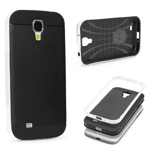 Samsung-galaxy-s4-BACK-CASE-Carbon-Style-Cover-Dual-Layer-Housse-de-Protection-TPU