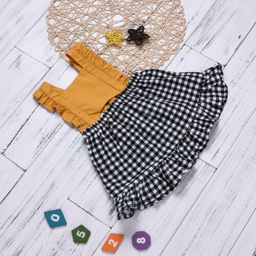 Toddler Kids Baby Girl Suspender Skirt Summer Overall Dress Strap Dress