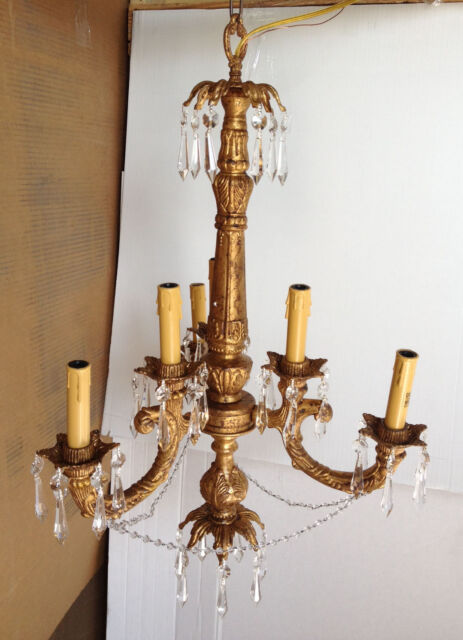 Chandelier shabby & chic antique gold w/ crystal  6 lite