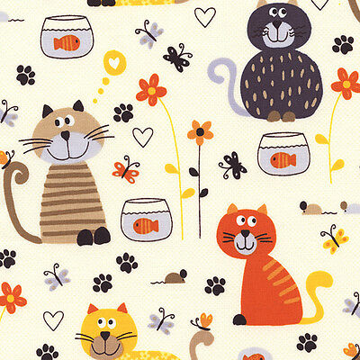 """TIMELESS TREASURES """"CATS AND FISHBOWLS"""" Cream by yard"""