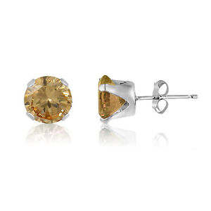 Genuine-Golden-Citrine-Gemstone-Sterling-Silver-Stud-Earrings-November
