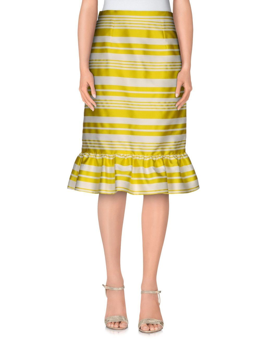 Red Valentino  Striped Jacquard Pencil Skirt NWT SZ 42 Yellow
