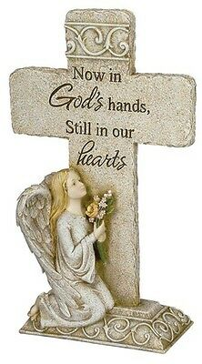 Kneeling Angel Garden Cross Outdoor Memorial Statue