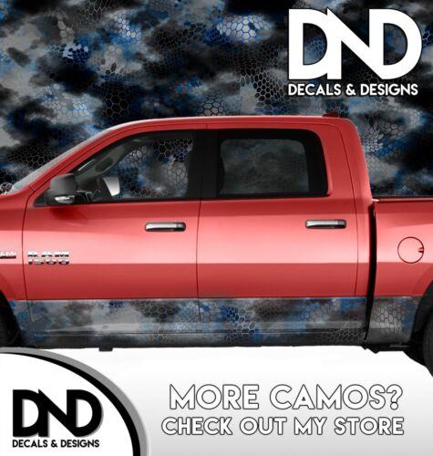 Camo Chameleon Blue Rocker Panel Wrap Graphic Decal Kit Truck Camouflage DA46RP