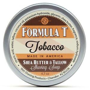 Formula-T-Men-039-s-Shaving-Soap-4-7-oz-Tobacco-Leaf-Shea-Butter-amp-Tallow-Shaving