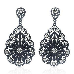 Black-Vintage-Style-Gothic-Dress-Teardrop-Crystal-Flower-Drop-Dangle-Earrings-UK