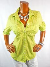 MICHAEL KORS Womens Top M NEW Button Down Shirt Summer INSIGNIA Studs Lime White