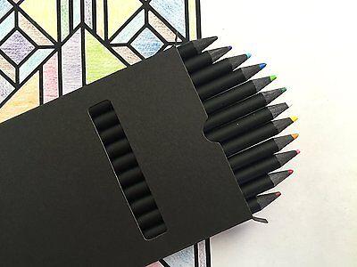 All Black Colored Pencil Set Kit Drawing Art Color Pencils Carbon Black 12 Pack