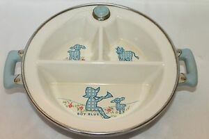 Vintage Divided Baby Food Dish In Warmer Little Boy Blue Excello Cups, Dishes & Utensils Bowls & Plates