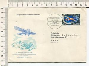 s631-SWITZERLAND-1963-Cover-50th-Ann-1st-Flight-Langenbruch-Bern-Locarno