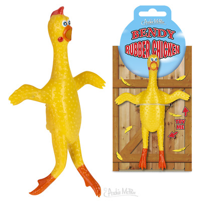 """BENDY RUBBER CHICKEN Bendable 5/"""" Gag Gift Mini Toy Archie Mcphee"""