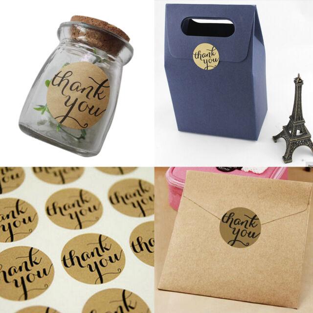 24 Pcs THANK YOU Kraft Seal Stickers Label for Wedding Favor/Envelope/Card FT