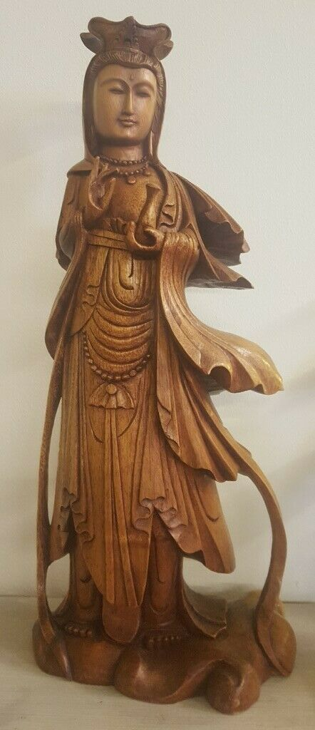 Holzfigur  Kuan Yin  - Suar Holz - Kunsthandwerk aus Bali - 45cm