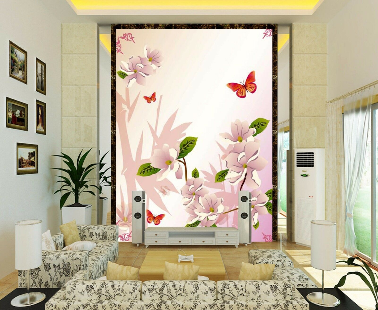 3D Butterfly, flower 16 Wall Paper Wall Print Decal Wall Deco Indoor Wall Murals