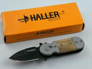 Haller-Wespe-Klappmesser-Springmesser-Zebraholzgriff-420-rostfrei-mit-Clip-84695