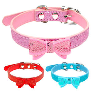 Bowknot-Leather-Bling-Sequins-Puppy-Pet-Dog-Collars-For-Small-Dogs-10-15-034