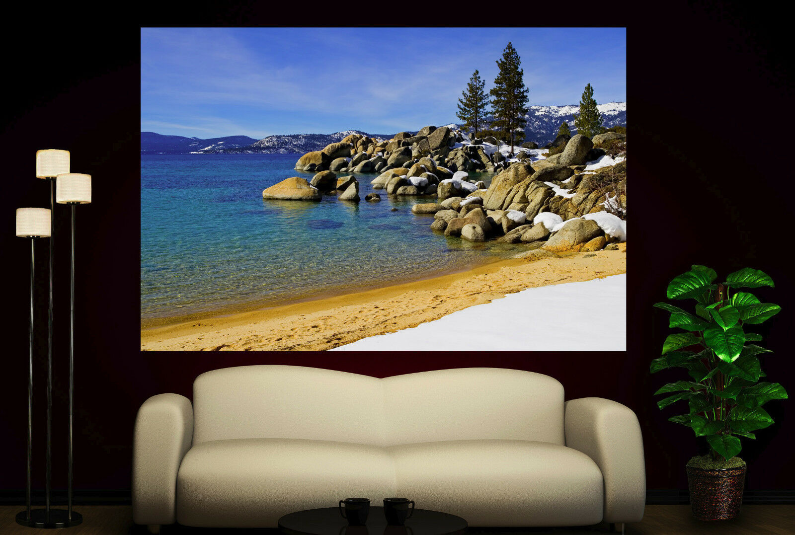 Water Beach Stones Canvas Print Tree Home Decor Wall Art Prints Photo Picture 2