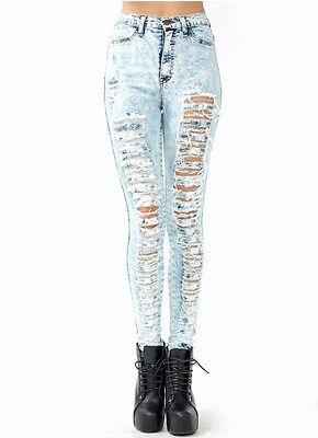 New! High Waisted ACID Mineral Light Wash Distressed Skinny Denim Jean Pants