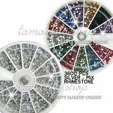 3600 PCS MIX Color + SILVER RHINESTONE GLITTER GEM Set NAIL ART Acrylic Gel TIPS