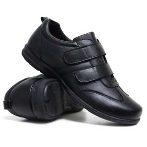 mens new casual faux leather wide fit walking running gym
