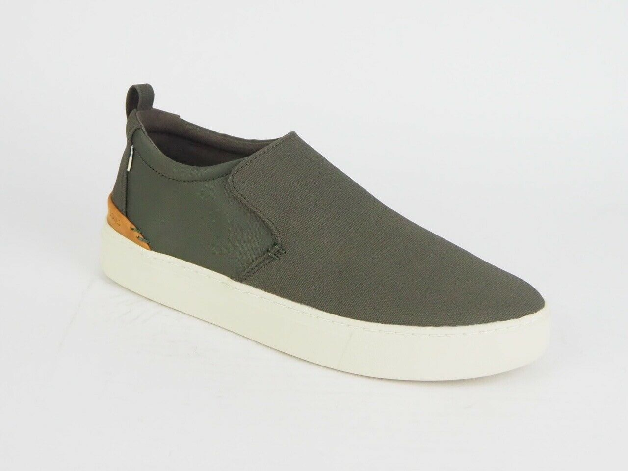 Mens Toms Paxton Tarmac Olive Canvas Flats Slip On Out Door Trainers Uk 7.5