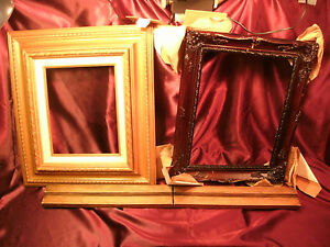 2-Ornate-Wood-Picture-Frames-tan-13-5-034-x17-5-034-amp-Atq-vtg-13-5-034-x16-5-034-free-ship
