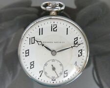 100% Authentic TAVANNES WATCH Co Hand Winding Open Face Pocket Watch Vintage