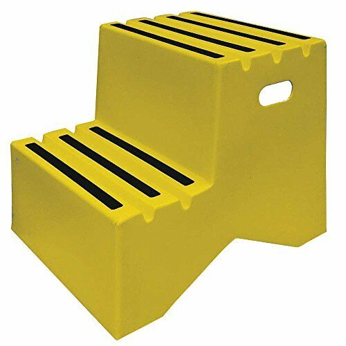 2 Step Polyethylene Step Stand w  Non-Skid Tape Surface & 500lbs Load Capacity
