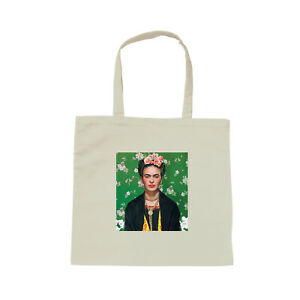 Detalles de Sac Shopping blanc Frida Kahlo artiste peintre mexicaine vintage tote bag