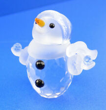 Swarovski Crystal Christmas Little Snowman W/ Blue Snow Balls 624572