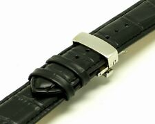22mm Black Leather Alligator Grain Watch Strap Butterfly Clasp Fits All 22