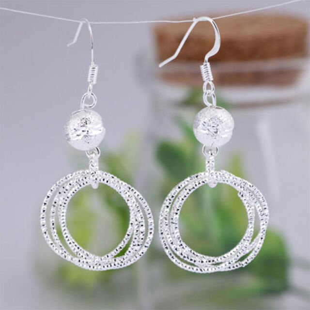 1 Pair Women Simple Beads Five Rings Ear Drop Earrings Jewelry UK