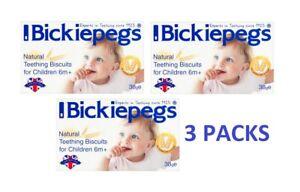 3 X Bickiepegs Dentition Biscuits Pour Bébés 38 G - 9 Biscuits-bébés Dentition-afficher Le Titre D'origine