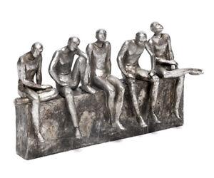 Deko-Skulptur-Maenner-Antik-Stil-Aus-Polyresin-Figur-Menschen-Silber-Statue-Mann
