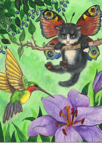 PRINT OF ACEO PAINTING RYTA ANGEL FAIRY TUXEDO CAT RAINBOW HUMMINGBIRD BUTTERFLY
