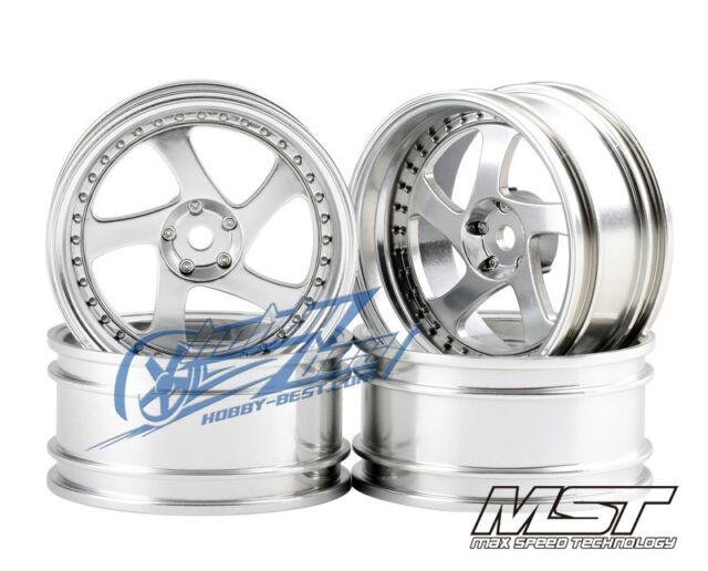 MST Flat silver TMB RC 1/10 Drift Car Wheels offset 8 (4 PCS) 102045FS New