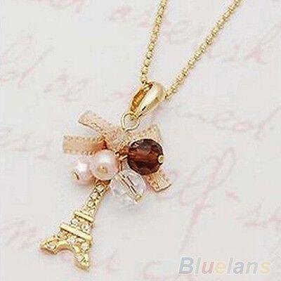 Women Golden Tone Natty Jewelry Eiffel Tower Pendant Chain Choker Necklace