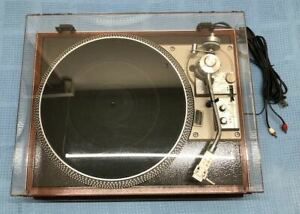 REDUCED-Refurbished-Pioneer-PL-518-with-Custom-Mahogany-Base-and-Cover-in-EC