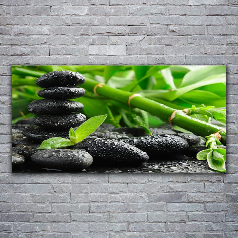 Impression sur verre Wall Art 120x60 Photo Image Bambou pierres Floral